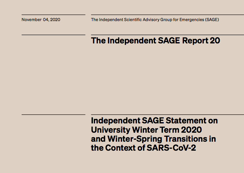 INDEPENDENT SAGE STATEMENT ON UNIVERSITY WINTER TERM 2020 AND WINTER-SPRING TRANSITIONS IN THE CONTEXT OF SARS-COV-2