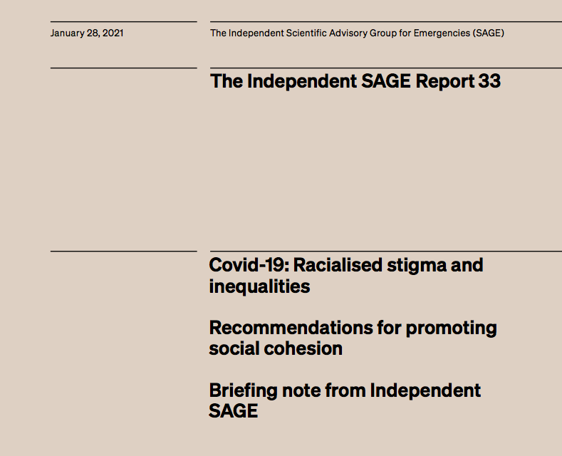 Covid-19: Racialised stigma and inequalities, Recommendations for promoting social cohesion – Briefing note from Independent SAGE