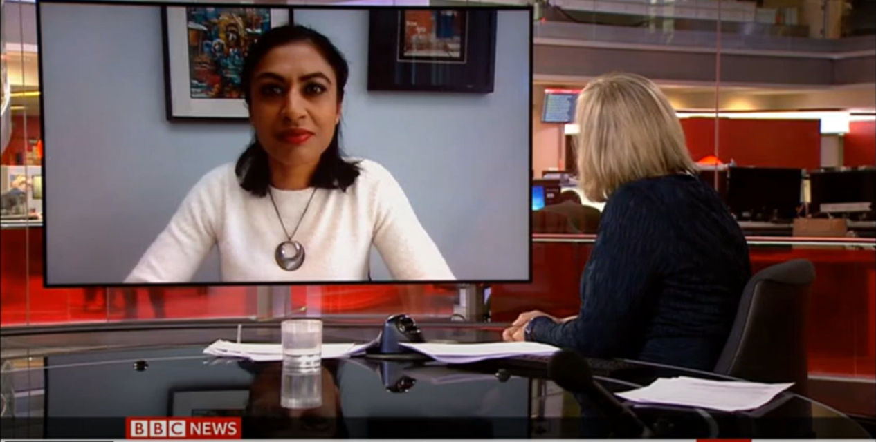 Zubaida Haque on BBC News to discuss the implications of the new variant of concern