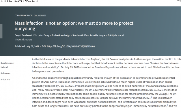 'mass infection is not an option.' Independent SAGE members among scientists publishing open letter to the lancet