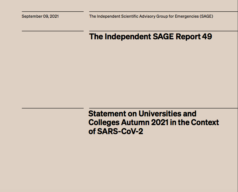 Statement on Universities and Colleges Autumn 2021 in the Context of SARS-CoV-2
